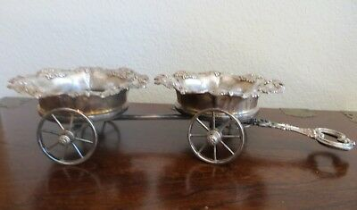 Antique Victorian Silver Plate Rolling Double Wine Cart Trolley Wagon by W.H.