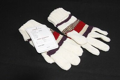 Wintertime Warm Unisex White Knitted Gloves with Multicolored Stripes S(334)
