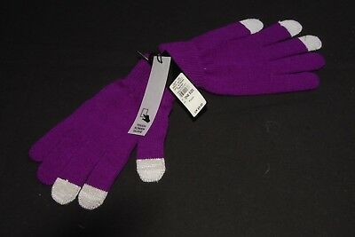 Everyday Winter Women Knitted Purple Gloves With Touch Screen Fingertips (S334)
