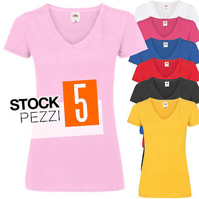 Pacchetto 5 T-Shirt Donna Magliette Scollo a V Fruit of The Loom Prezzo Stock