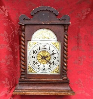 Very Nice Ansonia Oak Mantel Clock For Restoration Barley Twist Case Nice Dial