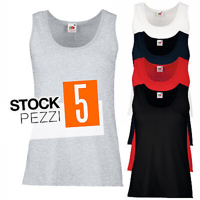 Pacchetto 5 Canotte 100% Cotone Donna Stock T-Shirt Smanicate Fruit of The Loom