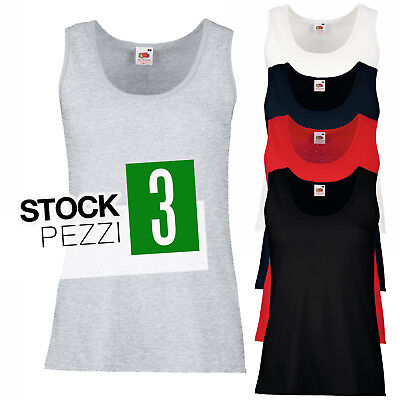 Pacchetto 3 Canotte 100% Cotone Donna Stock T-Shirt Smanicate Fruit of The Loom
