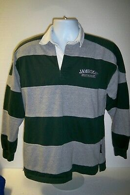 Jameson Irish Whiskey Logo Rugby Polo L/S Striped Cotton Green Shirt Sz Large