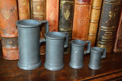 Antique French Set of 4 Small Pewter Graduated Measures