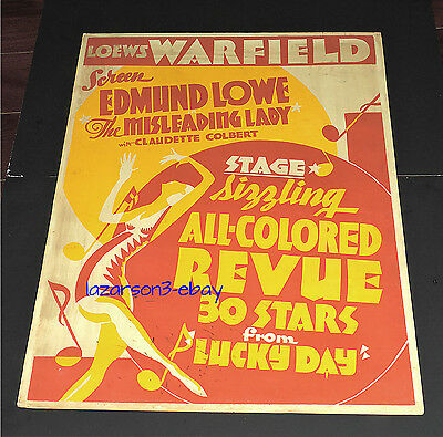 Lucky Day All Colored Revue 1932 Orig Art Deco Jumbo Window Card Trolley Card