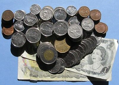 210 Mixed Canadian Coins $49.97 Canada Notes Cent Nickel Dime Quarter Loonie $2