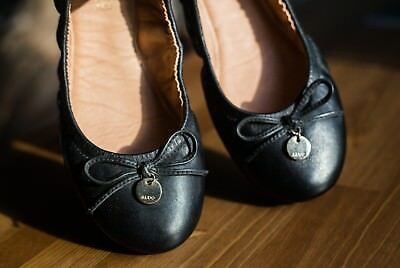 c23f8466d07 ALDO SCRUNCH BLACK Leather Ballet Flats with Bow Size 8 -  49.99 ...