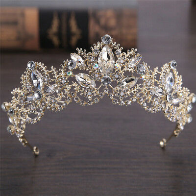 Rhinestones Baroque Bridal Crown Tiara Wedding Bride Hair Headdress Flower KingN