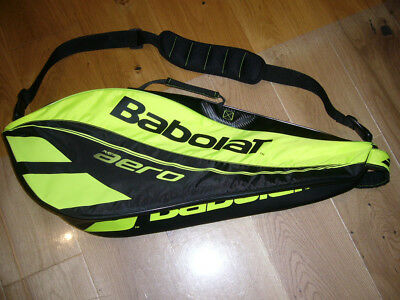 Babolat Aero tennis bag. Yellow .Takes 4 rackets without covers.2 compartments