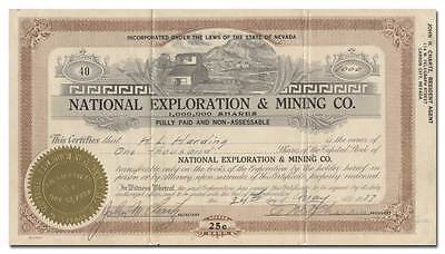 National Exploration & Mining Co. Stock Certificate