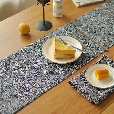 Japanese Arts Wave Cotton Linen Table Runners Home Chic Decor Tablecloth  Vintage