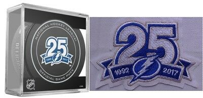 '17 2018 Tampa Bay Lightning Puck / Patch Set 25Th Anniversary Stanley Cup Final