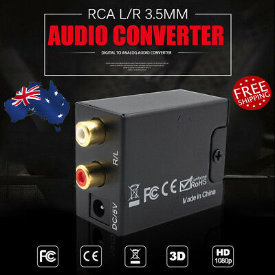 RCA Digital Optical Coax Coaxial Toslink to Analog Audio Converter Adapter Home