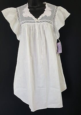 Lily of France Star White 100% Cotton Vtg Cap Sleeve Nightgown Sz M Med