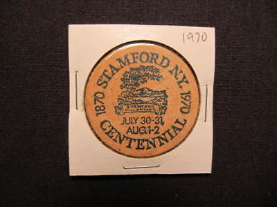 1970 Stamford, New York Wooden Nickel token - Stamford, NY 100th Wooden Coin GRN