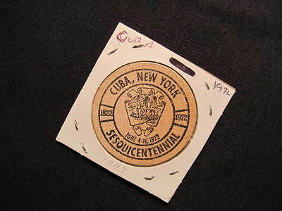 1972 Cub, New York Wooden Nickel token - Uba, NY Sesquicentennial Wood Coin BLK