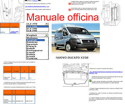 MANUALE OFFICINA Fiat DUCATO x 250 WORKSHOP SERVICE SOFTWARE ELEARN  PER windows