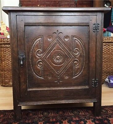 Lovely Antique Dark Jacobean, Arts and Crafts, Cupboard Cabinet Hand Carved