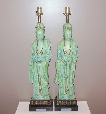 VTG Hollywood REGENCY GLAM Tony Duquette James Mont KWAN YIN Lamps CHINOISERIE