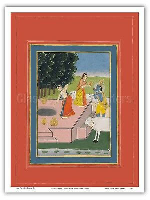 Lord Krishna - Gopis with Holy Cows - 1800s Vintage Miniature Print