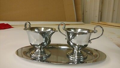 Fiberware silver plate cream and sugar set on matching tray