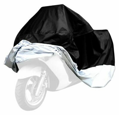Motorcycle Waterproof UV Protective Cover with Storage Bag, Black/Silver, Size X