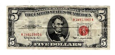1963 United States Note $5 Red Seal Bill
