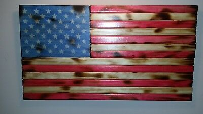 Rustic Wooden Handmade American Flag Charred Burnt Patriot Stained And Sealed