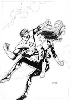 Green Lanterns Ink Amazing  Original Comic Pinup Art By Celso Dsx