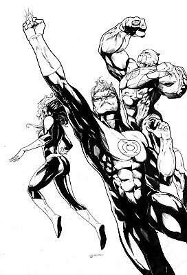 Green Lantern Ink Amazing  Original Comic Pinup Art By Celso Dsx