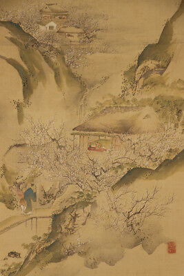 JAPANESE HANGING SCROLL ART Painting Spring Scenery Sansui Landscape  #E1182