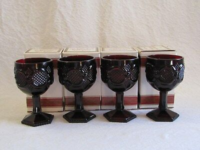 """4 Avon Cape Cod Ruby Red Large 6"""" Water Wine Goblets In Box"""