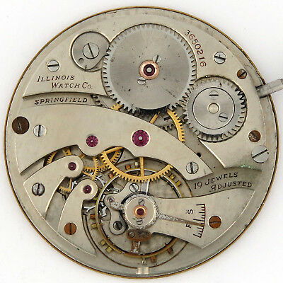 Illinios Grade 437 19j 13s OF Pocket Watch Movement Tiffany Dial Rare 2-Stars