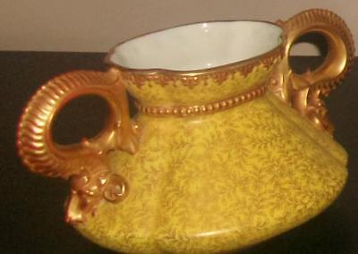 Royal Worcester 1886 Serpent Handled Gold Yellow Floral Chintz Stunning Vase