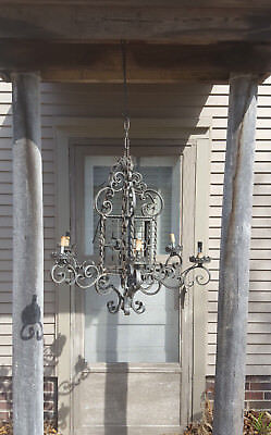Antique Gothic Spanish Mission Revival Wrought Iron 6 Arm Chandelier Vtg Huge