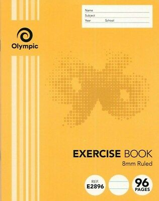 Olympic Stripe 96 page Exercise Book 8mm Feint Ruled 225 x 175cm ***140764***