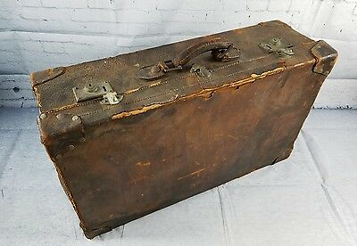 Vintage Antique Leather Trunk Suitcase Travel Trunk Worn Leather HEAVILY USED