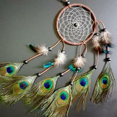 Dream Catcher Peacock Feather W/ Net Car Wall Hanging Home Crafts Decor Ornament