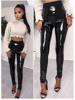 UK Women Vinyl PVC Wet Look Shiny Disco Elasticated High Waist Leggings Pant