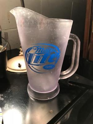 Vintage Miller Lite Plastic pitcher frosted look 9-1/8 inches tall Boelter Co.