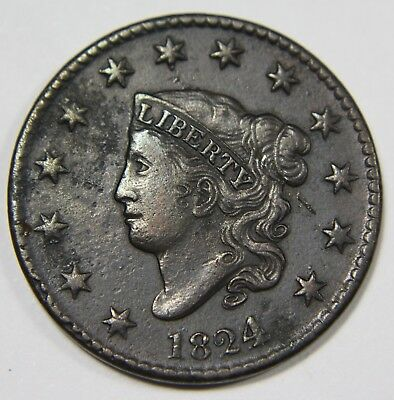 1824/2 4 Over 2 Liberty Matron Head Large Cent Penny Old US Coin NR P1R XX042