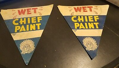 Rare Chief Paint Wet Paint Signs Chicago Paints Inc Vintage Extremely Rare
