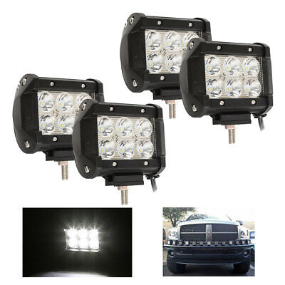 4x 18W Spot LED Work Light Bar Offroad ATV SUV Truck Jeep Fog Driving Lamp