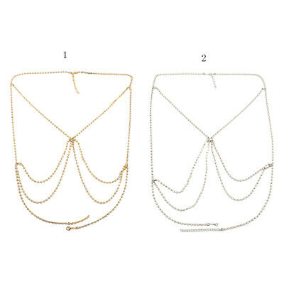 Fashion Shiny Crystal Women Bra Chest Body Chain Harness Necklace Jewelry