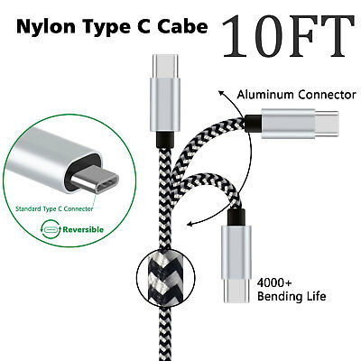 LOT- Nylon Braided Rope USB-C Type-C 3.1 Data Sync Charger Charging Cable Cord