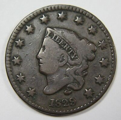 1829 Counter Stamp Liberty Matron Head Large Cent Penny Old US Coin NR P1R XX036