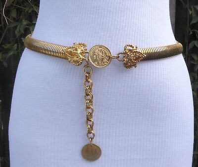 Vtg Ornate Snake Gold Tone Metal Stretch Coin Chain Belt