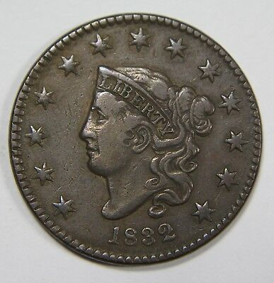 1832 Large Letter Liberty Matron Head Large Cent Penny Old US Coin NR P1R XX033