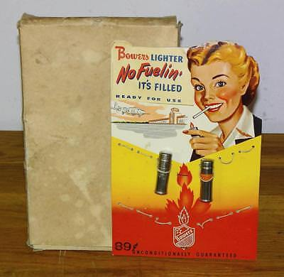 """Vintage """"BOWERS LIGHTER"""" COUNTER TOP EASEL BACK SIGN DISPLAY w/2 LIGHTERS + BOX"""